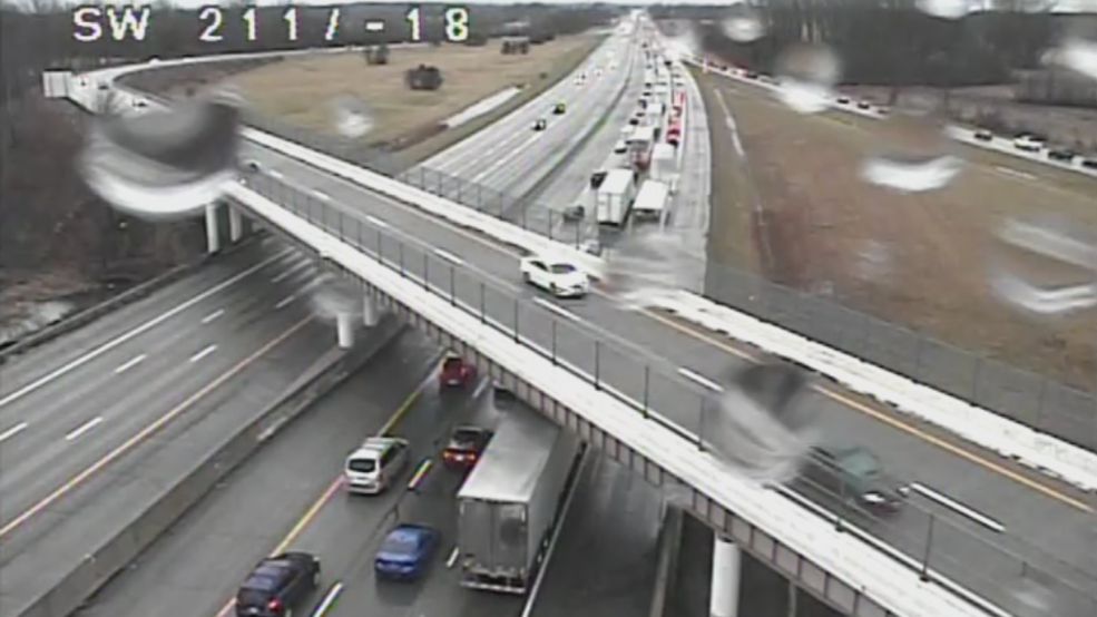Traffic buildup on I-70 between SR 4 and I-675 in Clark